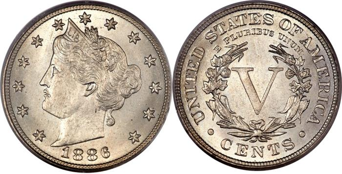 1886 V Liberty Nickel Image Key Date