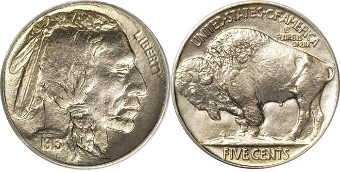 1913 Buffalo Nickel Type 2 On A Plain Image