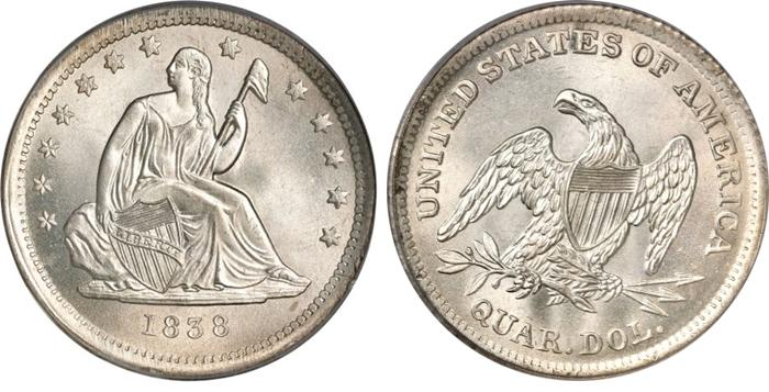 1838 Seated Quarter Image