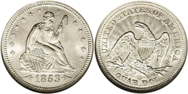 1853 Seated Quarter With Rays Arrows Image