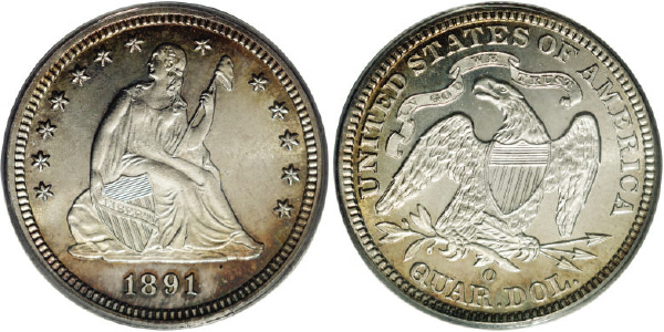 1891-O Seated Quarter Image