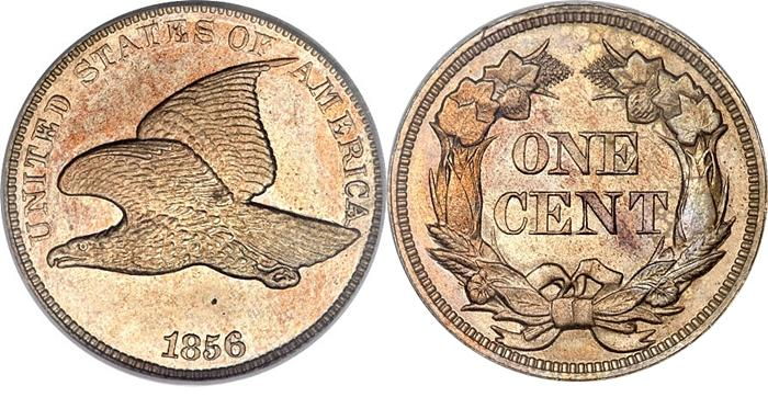 1856 Flying Eagle One Cent. Related Links: Flying Eagle Cent Grading Guide,