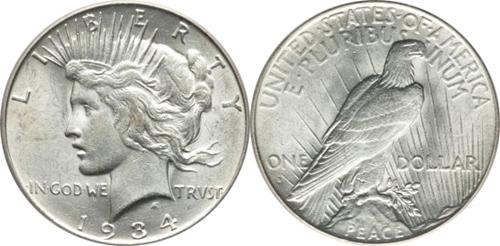 AU55 Grade Peace Dollar Image
