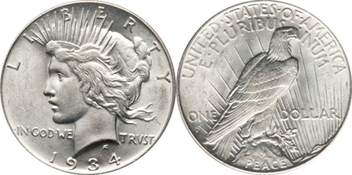 AU58 Grade Peace Dollar Image