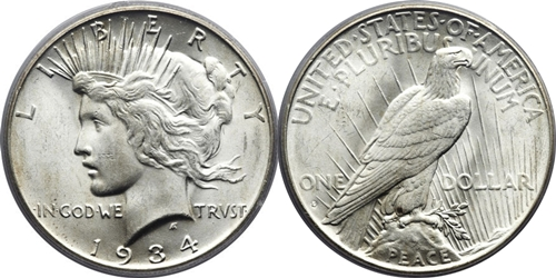 MS63 Grade Peace Dollar Image