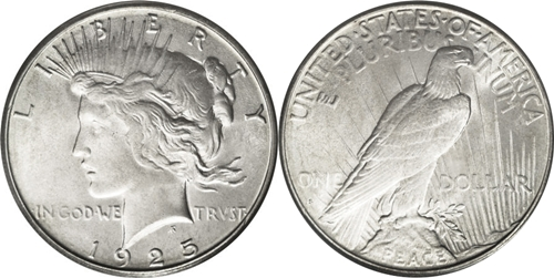 MS64 Grade Peace Dollar Image