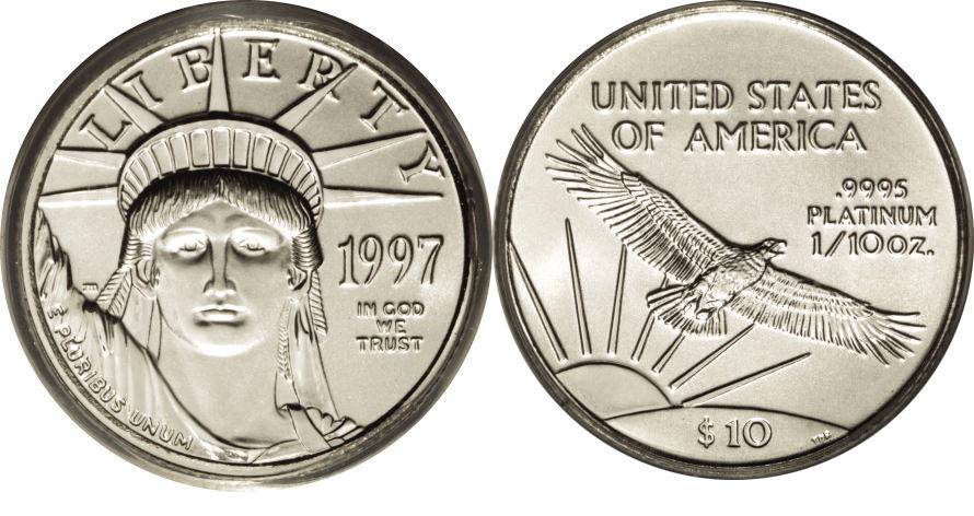 Most valuable $10 American Eagle Platinum Bullion values