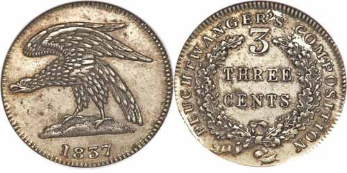 1837 1C Feuchtwanger Three Cent, Eagle Image