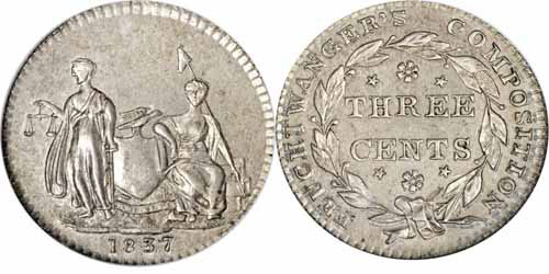1837 3C Feuchtwanger Three Cent, Coat of Arms Image
