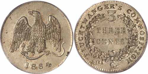 1864 3C Feuchtwanger Three Cent, Eagle Image