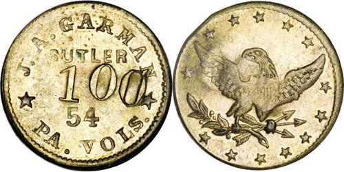 High Grade R.7 Civil War Sutler One Dollar Token. Schenkman-1100B, R.7. Image