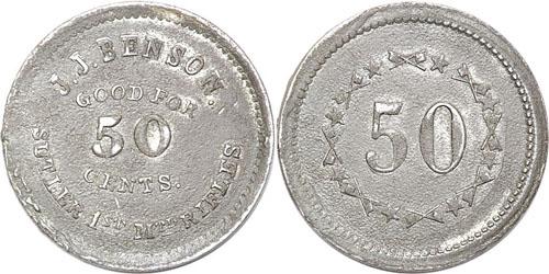 Civil War Sutler token issued by J.J. Benson for the 1st Mtd Rifles of New York Image