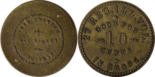 Civil War, Virginia Sutler token, issued by J.L. O'Neal for the 2nd Va. Calvary 25 cents Image