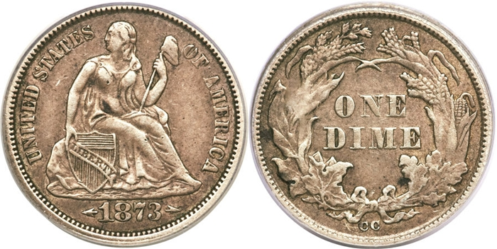 EF40 Grade Seated Liberty Dime Image