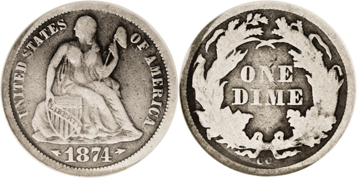 F12 Grade Seated Liberty Dime Image