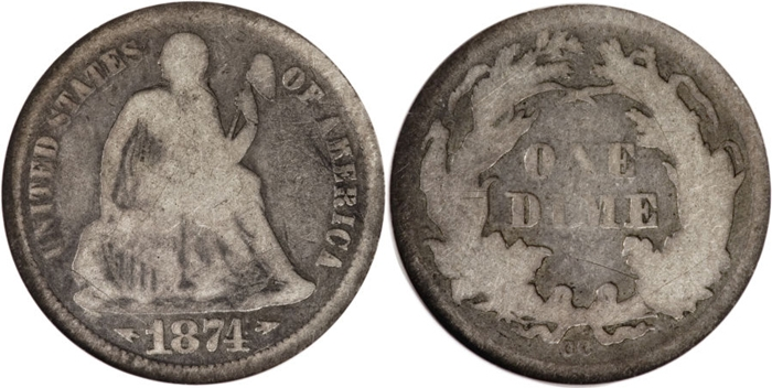 G4 Grade Seated Liberty Dime Image