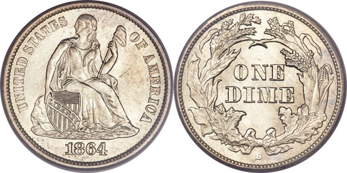MS64 Grade Seated Liberty Dime Image