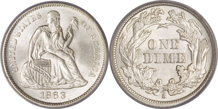 MS65 Grade Seated Liberty Dime Image