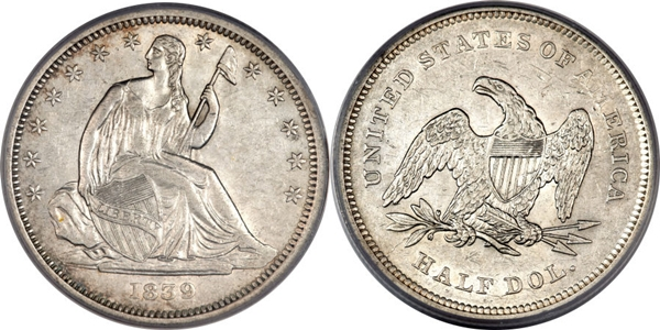 AU55 Grade Seated Dollar Image