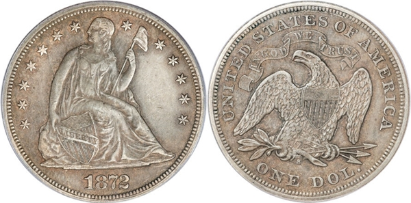 EF45 Grade Seated Dollar Image