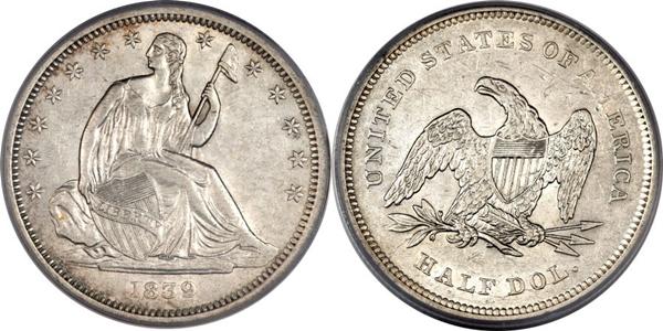 AU55 Grade Seated Silver Half Dollar Image