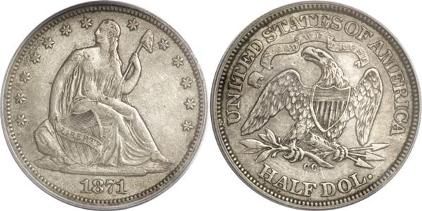 EF45 Grade Seated Silver Half Dollar Image