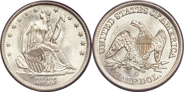 MS63 Grade Seated Silver Half Dollar Image
