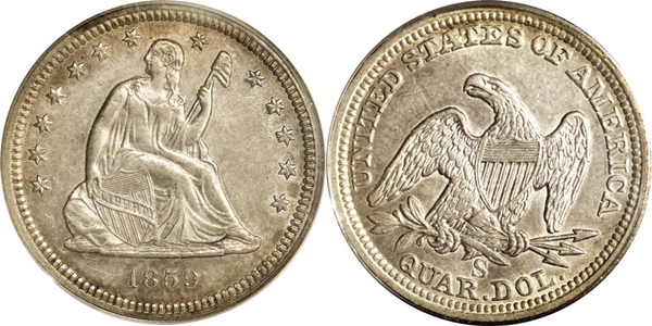 AU55 Grade Seated Silver Quarter Image