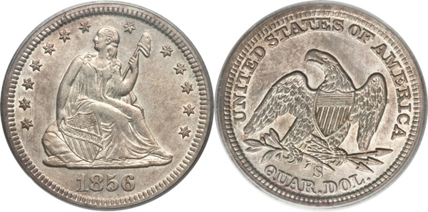 EF45 Grade Seated Silver Quarter Image