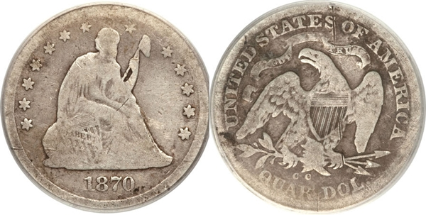 G4 Grade Seated Silver Quarter Image