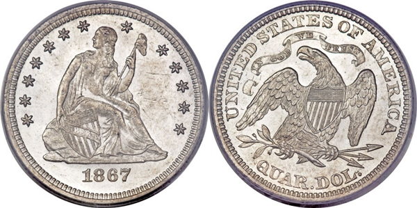 MS63 Grade Seated Silver Quarter Image