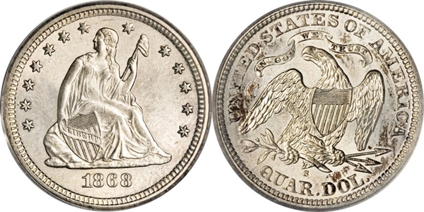 MS64 Grade Seated Silver Quarter Image