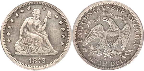 VF30 Grade Seated Silver Quarter Image