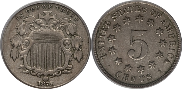 EF45 Grade Shield Nickel Image