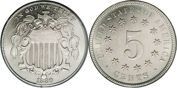 MS65 Grade Shield Nickel Image