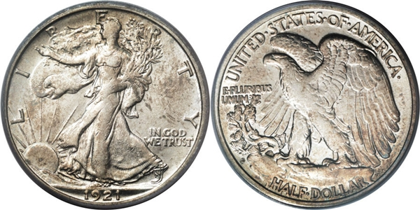 AU50 Grade Walking Liberty Half Dollar Image