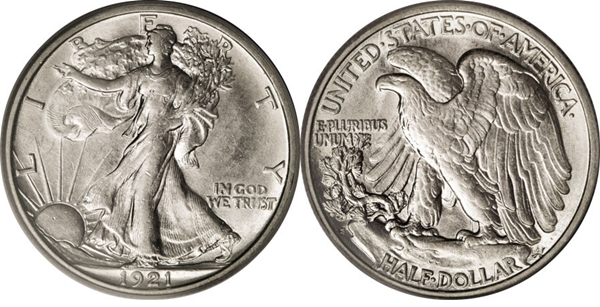 AU58 Grade Walking Liberty Half Dollar Image