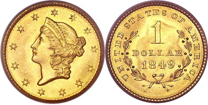 1849 1 Gold Type Open Wreath Liberty Head